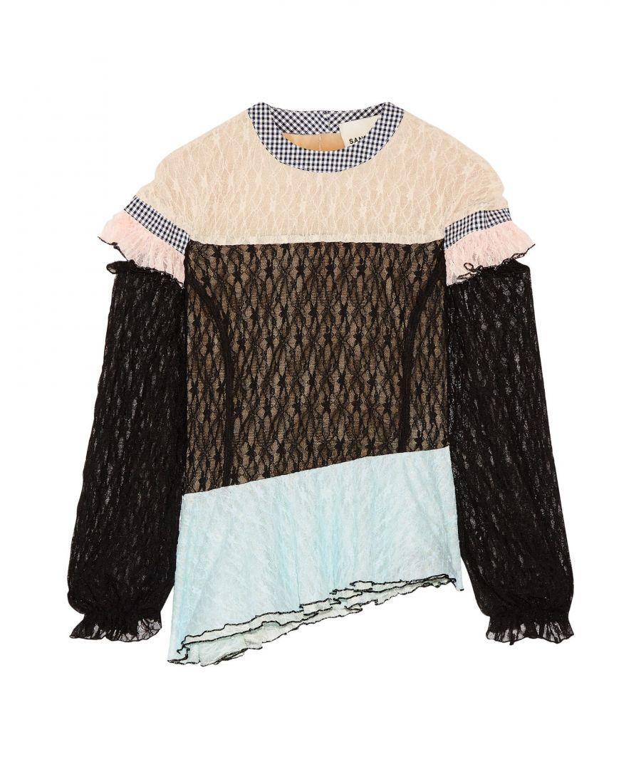 Image for Sandy Liang Black Cotton Lace Blouse