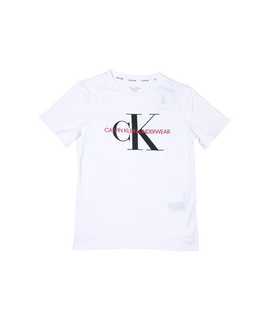 Image for Boy's Calvin Klein Junior Minigram T-Shirt White 10-12in White