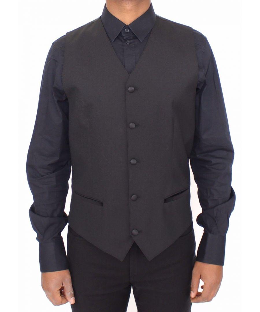 Image for Dolce & Gabbana Black Wool Silk Stretch Dress Vest Blazer