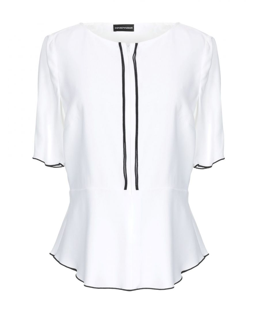 Image for Emporio Armani White Crepe Short Sleeve Blouse