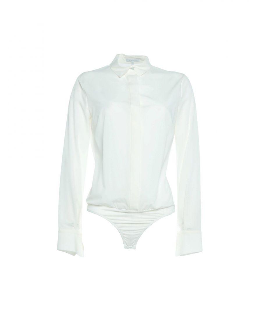 Image for Patrizia Pepe White Satin Blouse Bodysuit