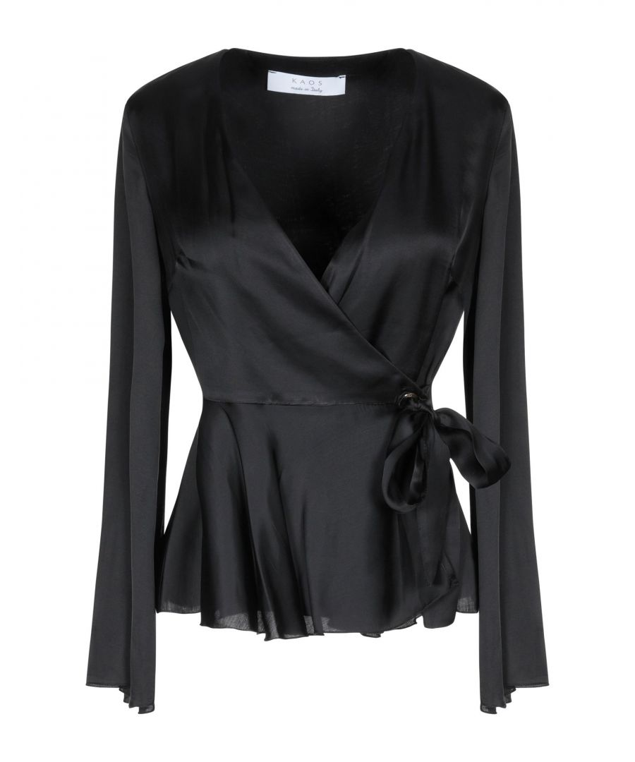 Image for Kaos Black Satin Wrap Blouse