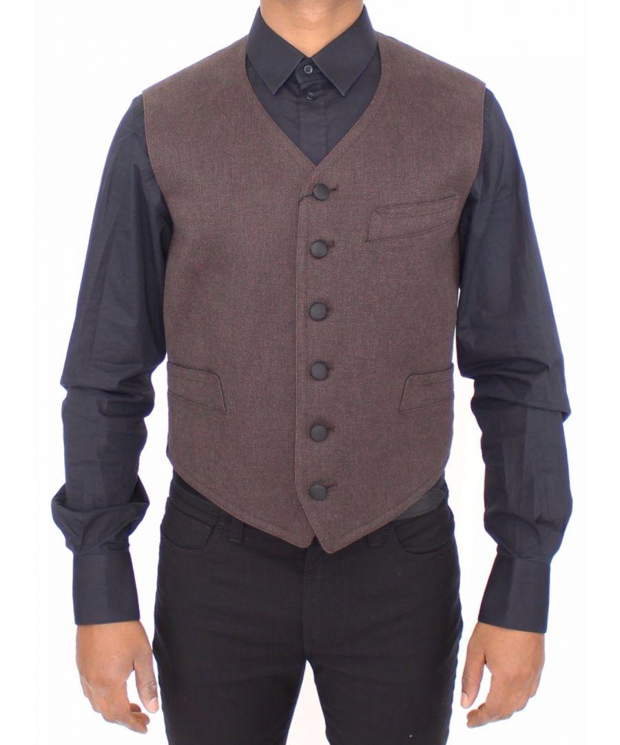Image for Dolce & Gabbana Brown Cotton Blend Dress Vest Gilet