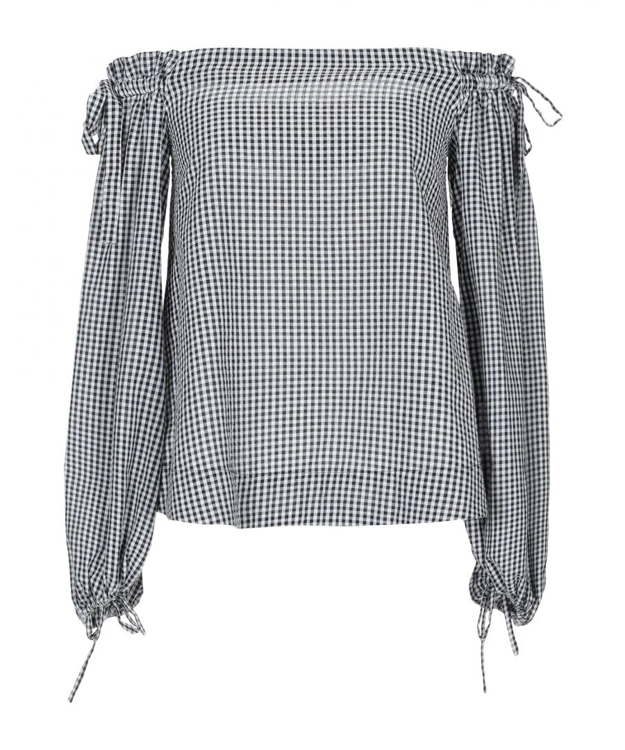 Image for Kendall + Kylie Black Check Off The Shoulder Blouse