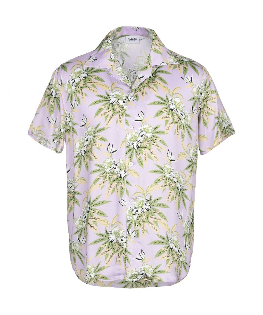 Image for Sss World Corp. Light Purple Floral Print Short Sleeve Shirt