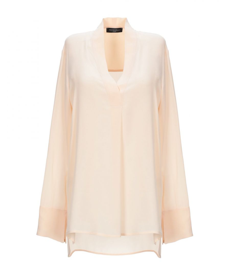 Image for Antonelli Sand Silk Long Sleeve Blouse