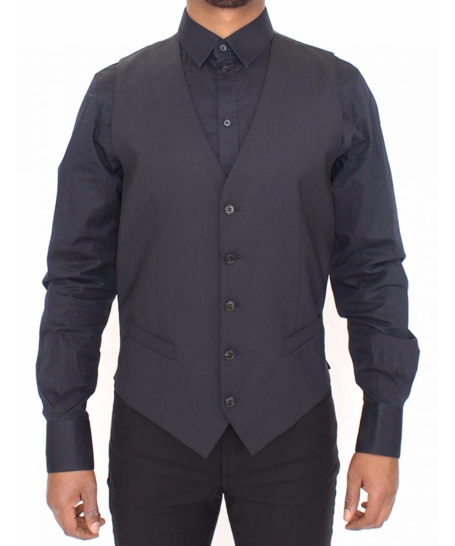 Image for Dolce & Gabbana Blue Wool Stretch Dress Vest Blazer