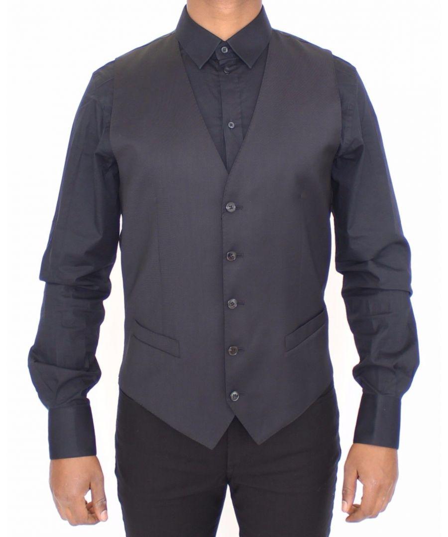 Image for Dolce & Gabbana Blue Wool Dress Vest Jacket Blazer