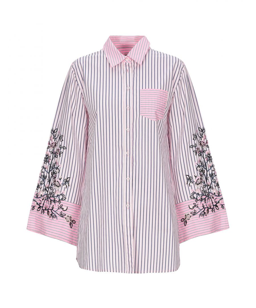 Image for Nenette Pink Stripe Cotton Embroidered Shirt