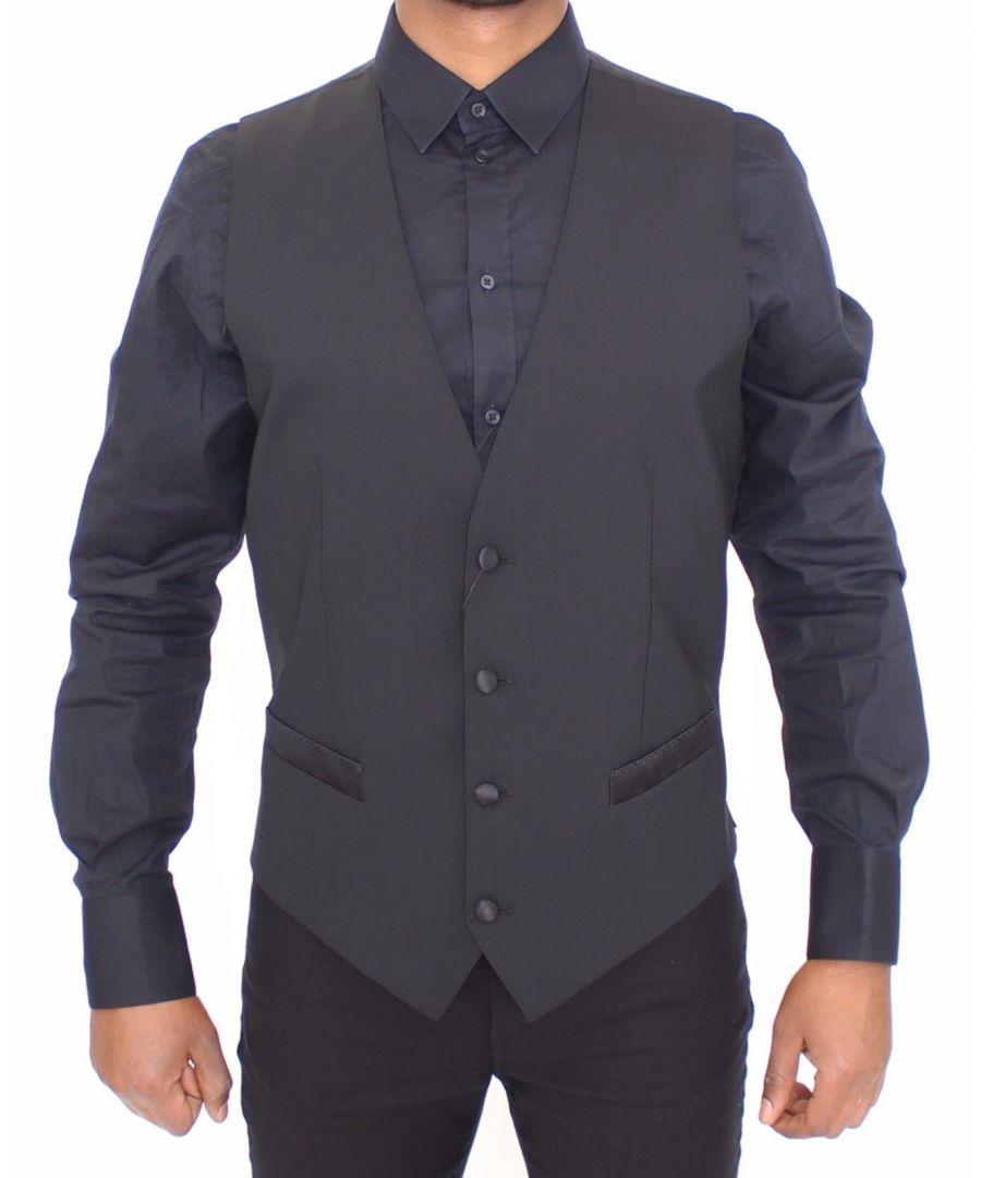 Image for Dolce & Gabbana Black Wool Silk Dress Vest Gilet Jacket