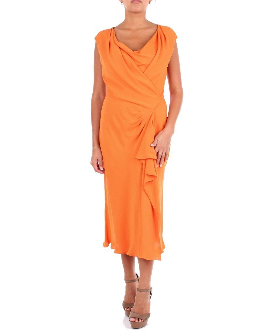 Image for ALBERTA FERRETTI WOMEN'S A047501380061 ORANGE VISCOSE DRESS
