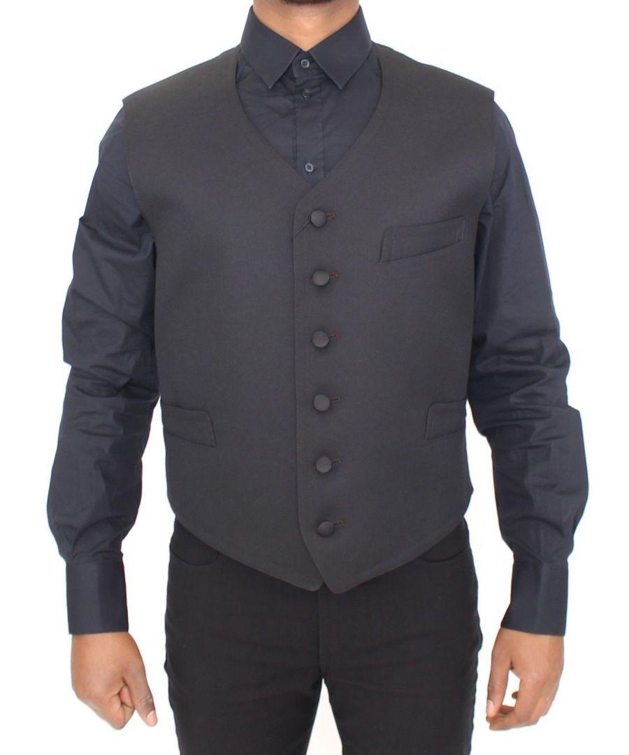 Image for Dolce & Gabbana Black Wool Formal Dress Vest Gilet Jacket
