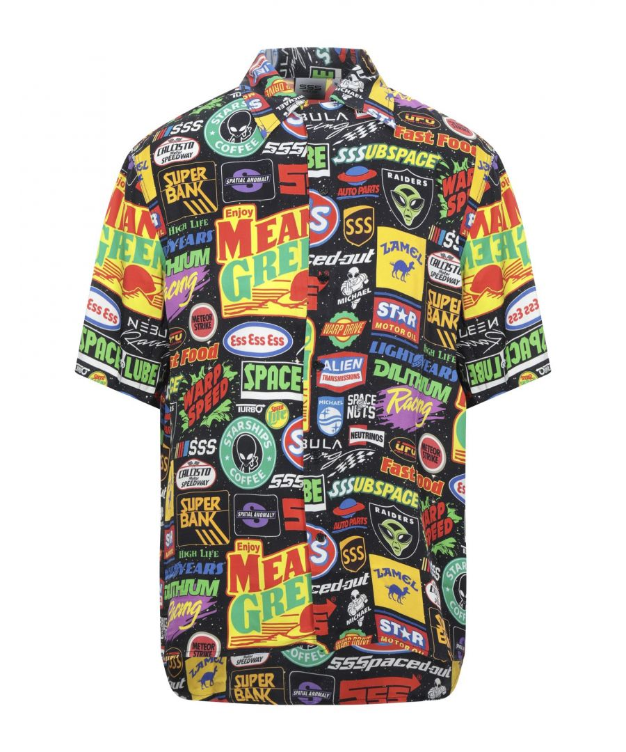 Image for Sss World Corp. Black Print Short Sleeve Shirt