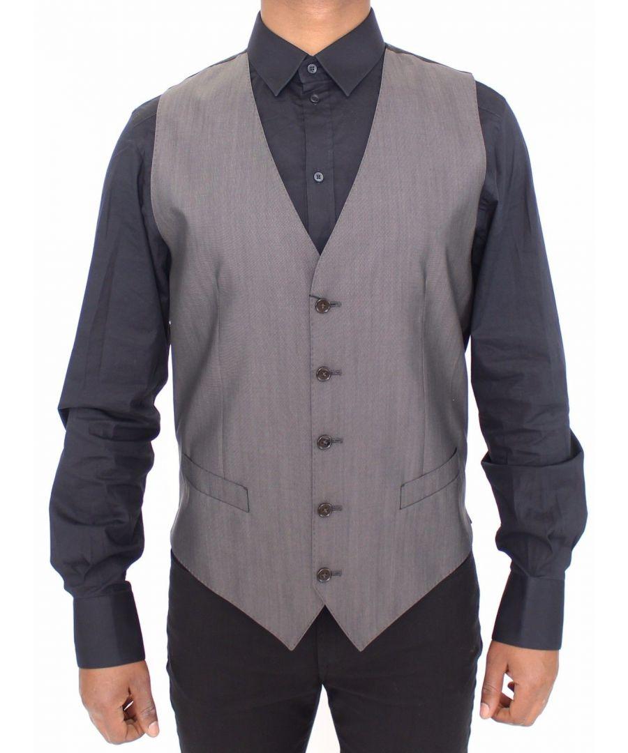 Image for Dolce & Gabbana Gray Wool Silk Dress Vest Gilet Jacket