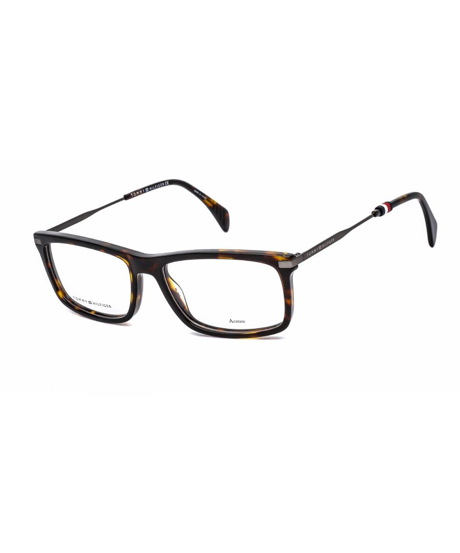 Image for Tommy Hilfiger Rectangular plastic Men Eyeglasses Dark Havana / Clear Lens