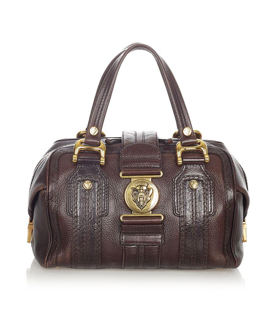 Image for Vintage Gucci Aviatrix Leather Boston Bag Black