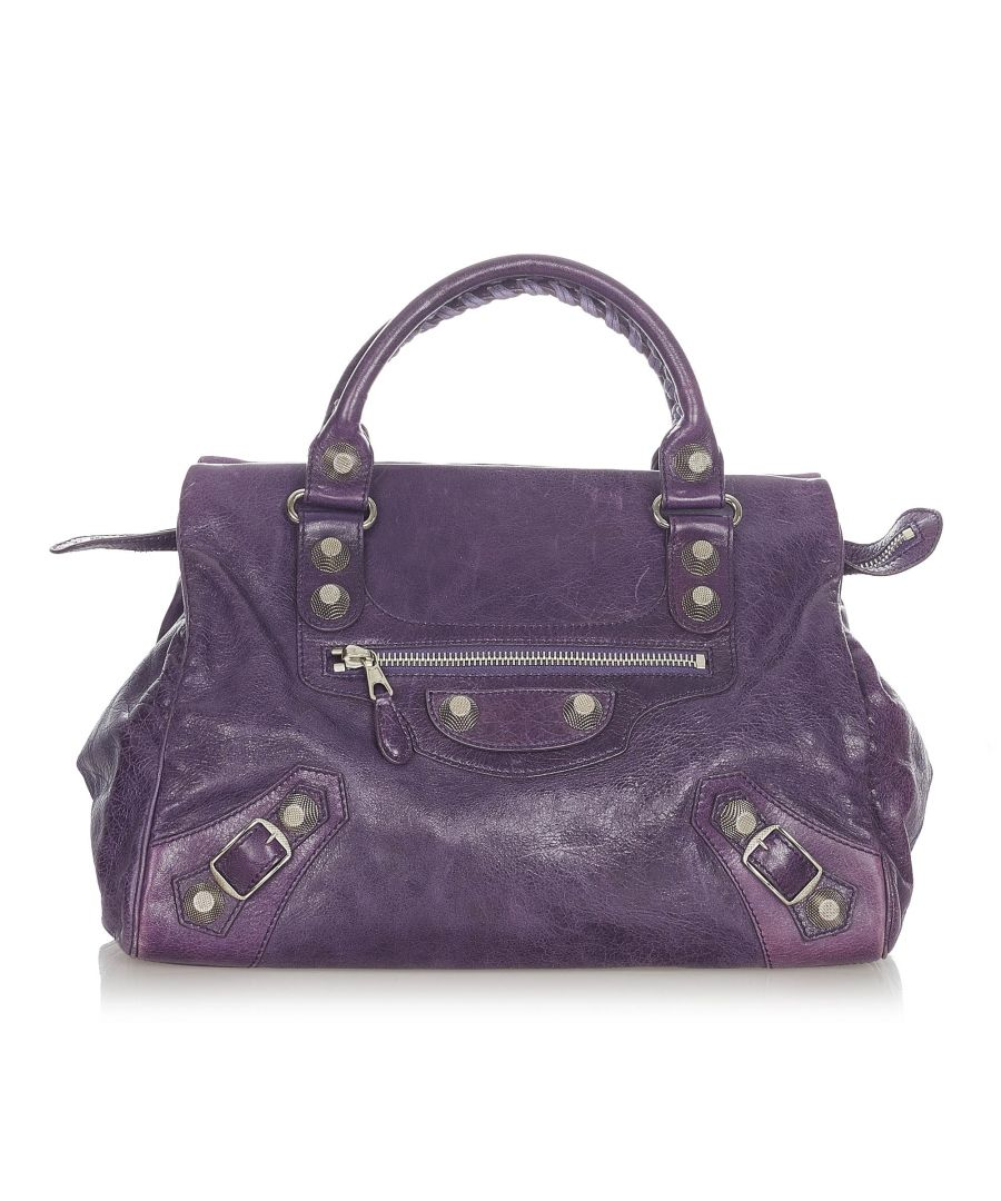 Image for Vintage Balenciaga Motocross Giant City Leather Handbag Purple