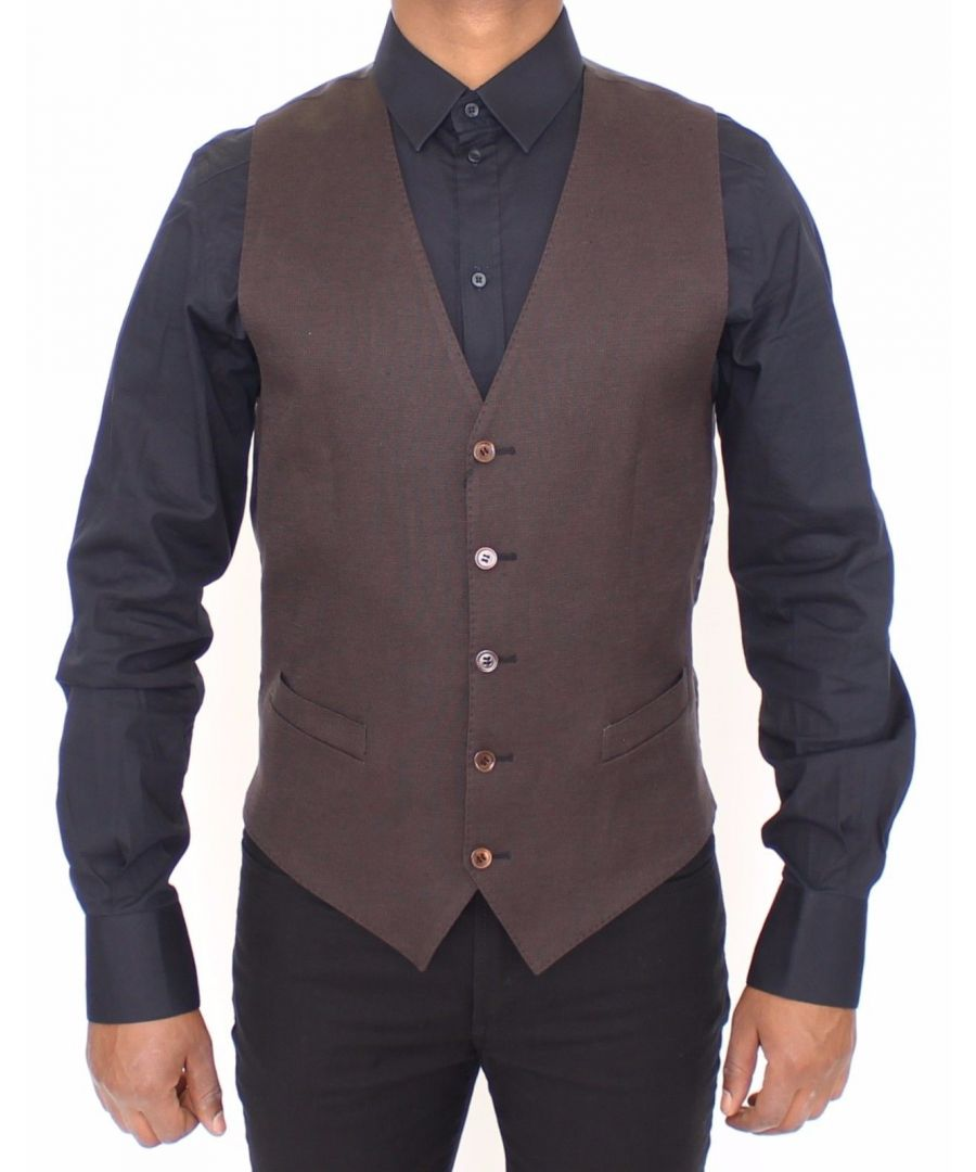 Image for Dolce & Gabbana Brown Cotton Flax Formal Dress Vest Gilet