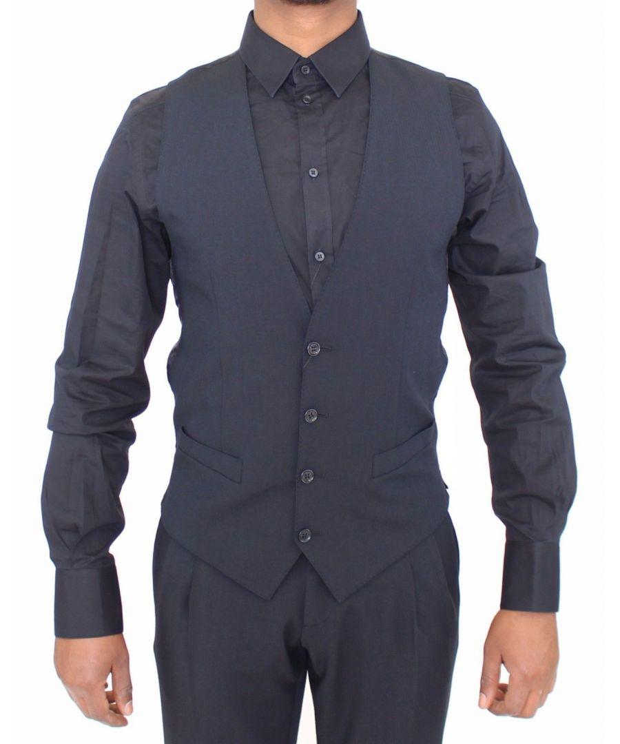 Image for Dolce & Gabbana Blue Wool Formal Dress Vest Gilet Jacket