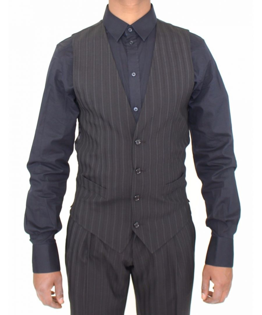 Image for Dolce & Gabbana Black Striped Stretch Dress Vest Gilet