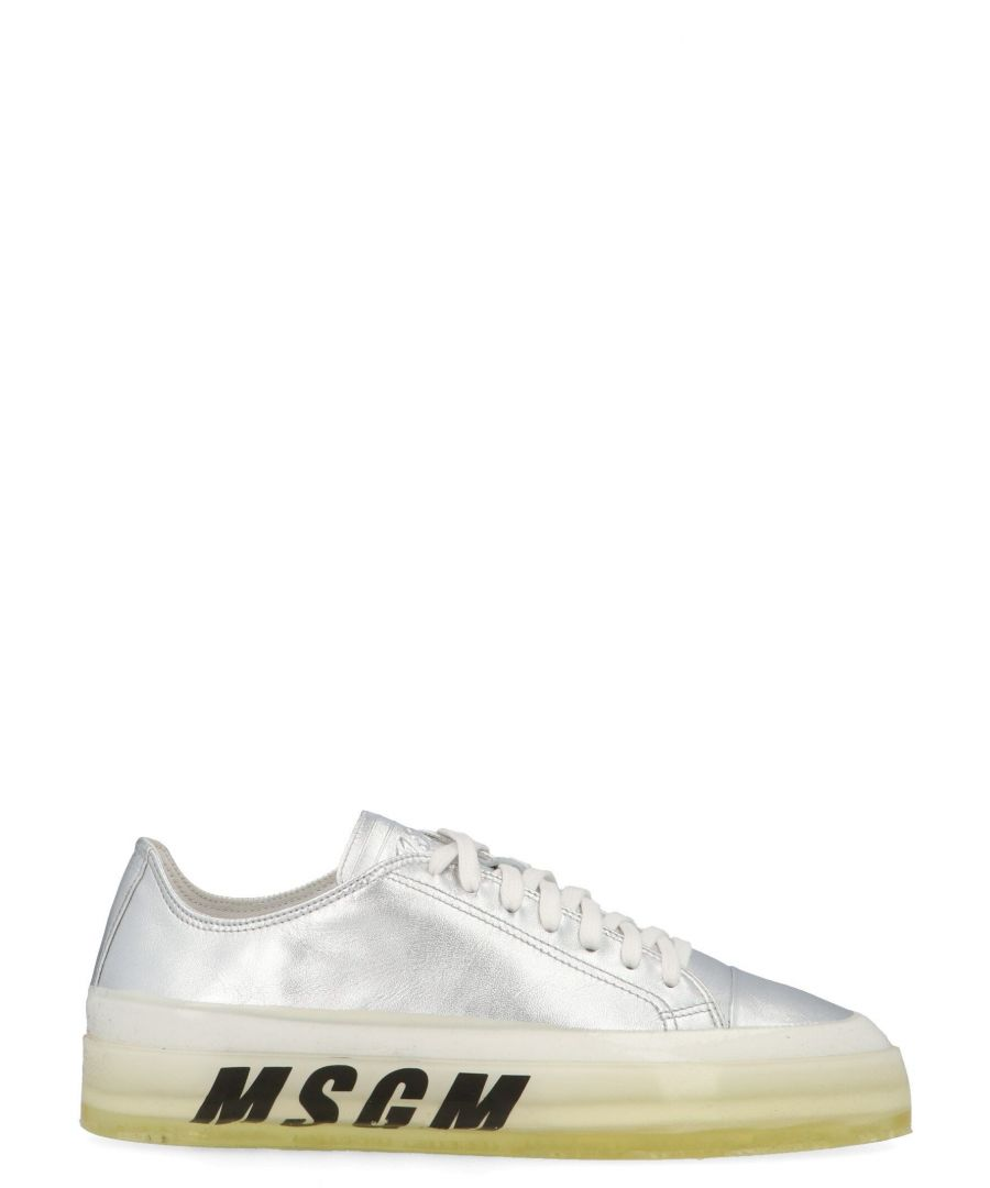 Image for MSGM WOMEN'S 2741MDS72516690 SILVER LEATHER SNEAKERS