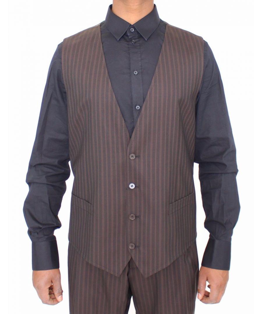 Image for Dolce & Gabbana Brown Striped Stretch Dress Vest Gilet