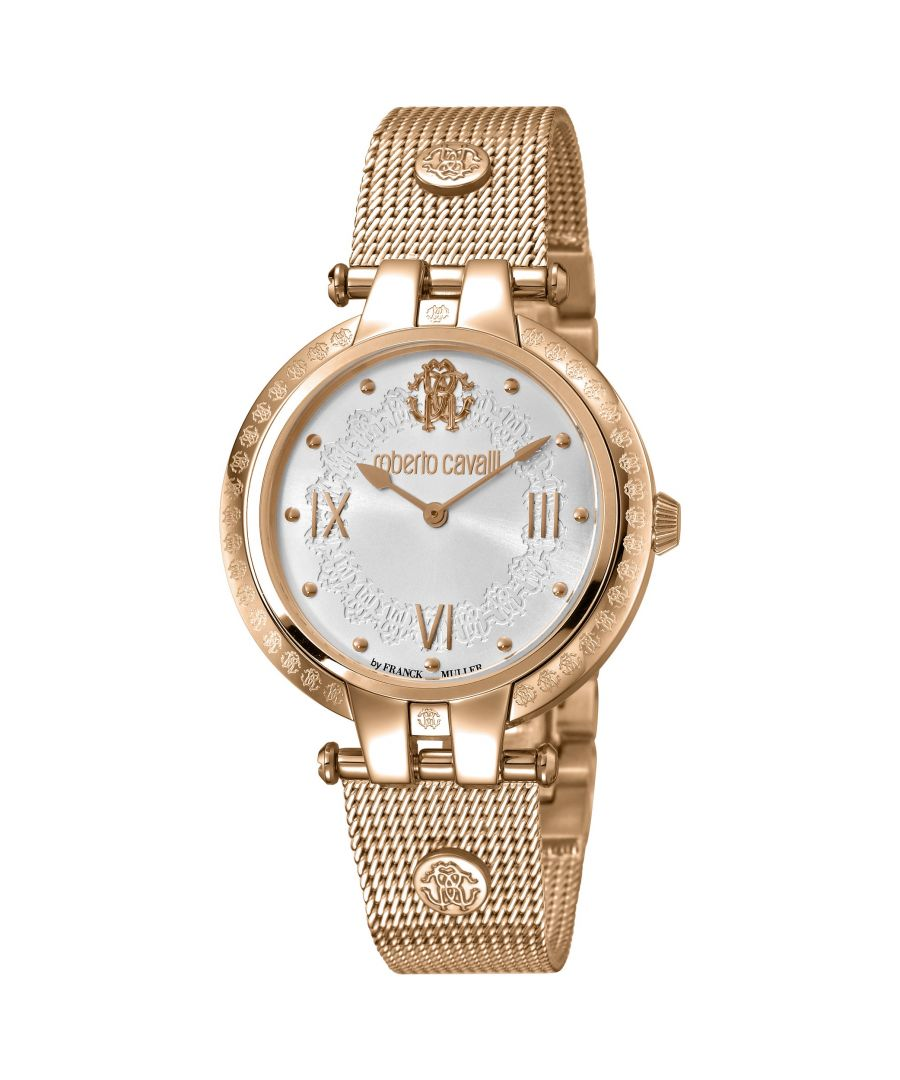 Image for Roberto Cavalli Womens Silver Dial Rose Gold Mesh Watch