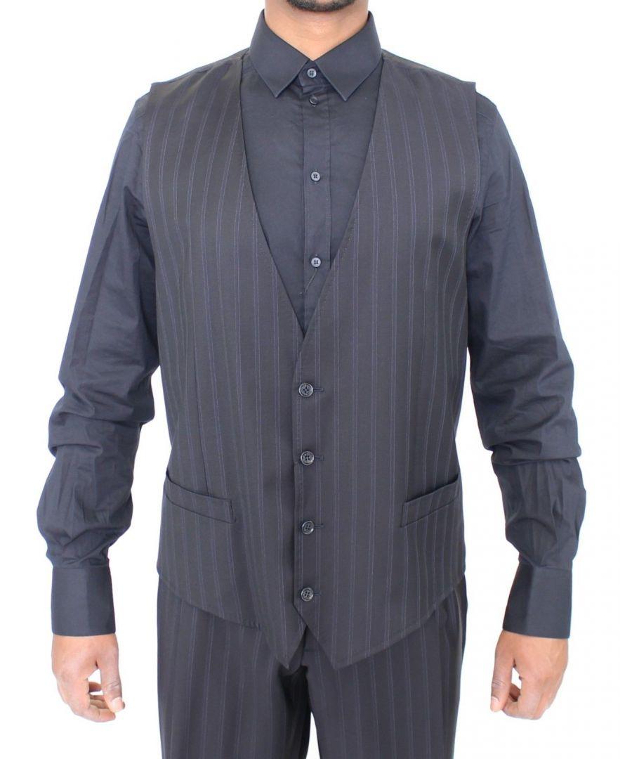 Image for Dolce & Gabbana Blue Striped Stretch Dress Vest Gilet
