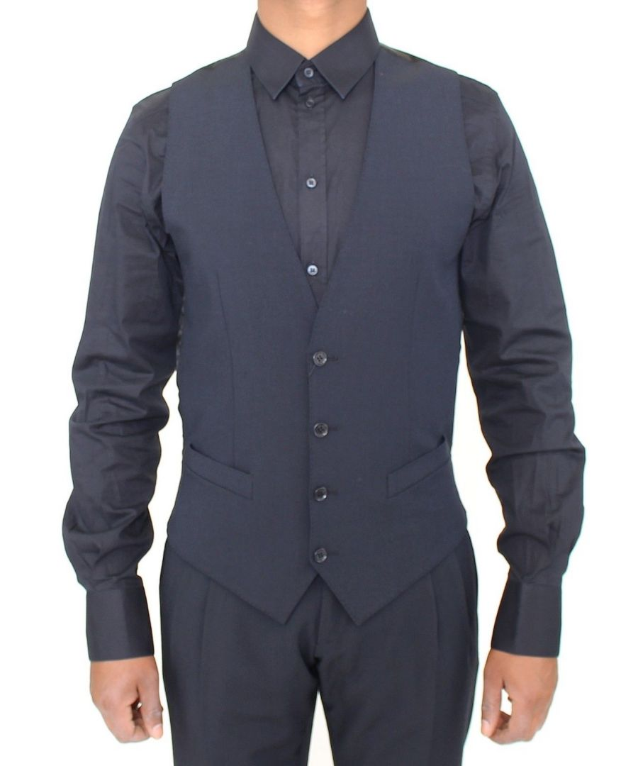 Image for Dolce & Gabbana Blue Wool Formal Dress Vest Gilet