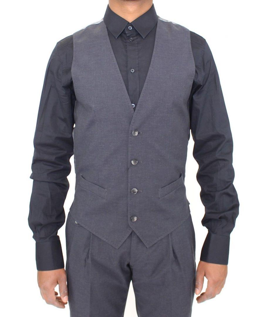 Image for Dolce & Gabbana Gray Cotton Blend Formal Dress Vest Gilet