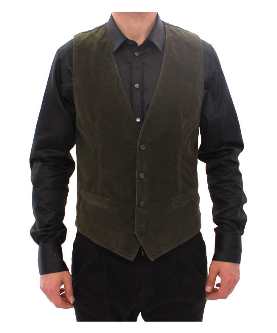 Image for Dolce & Gabbana Green Corduroys Single Breasted Vest
