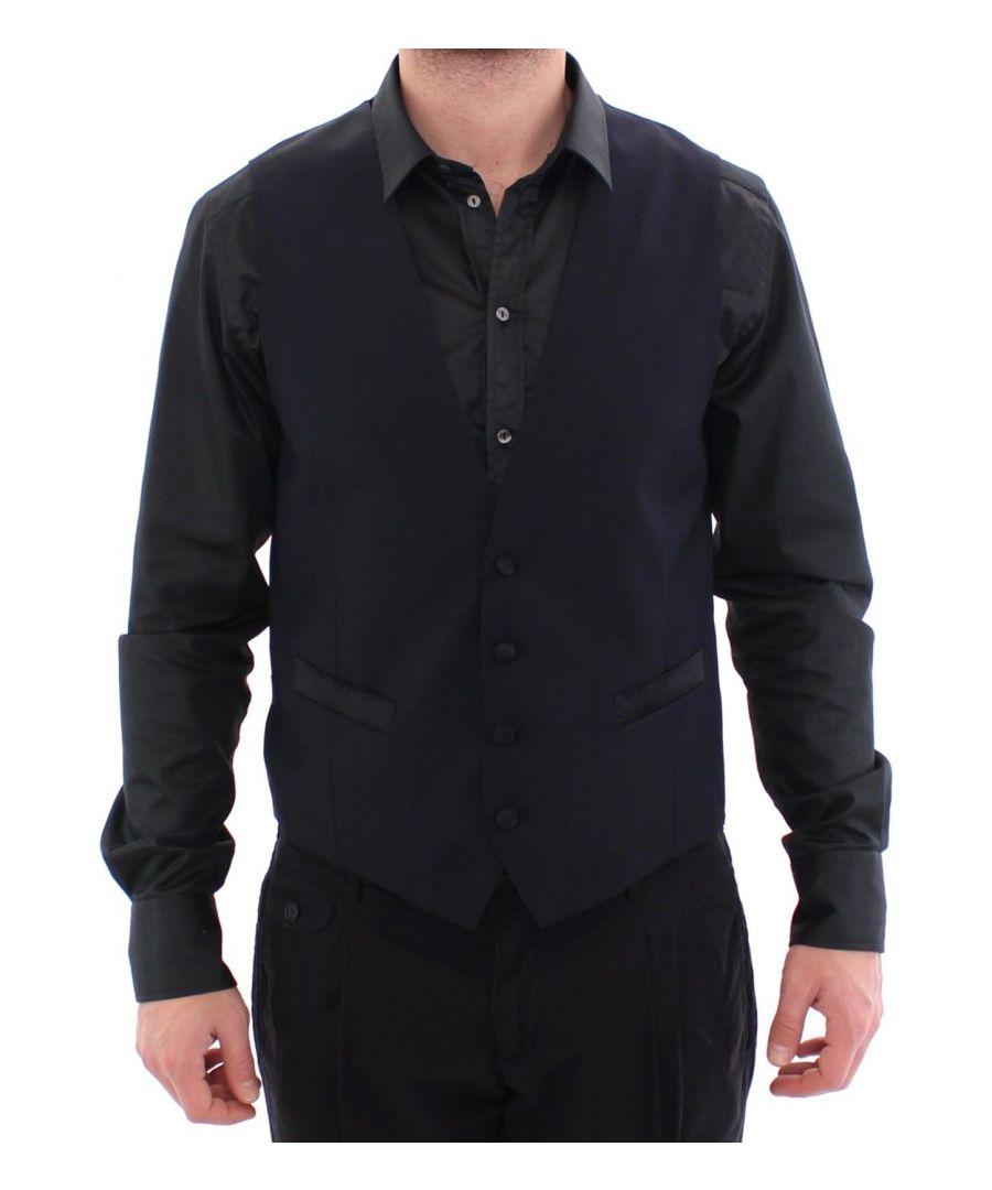 Image for Dolce & Gabbana Blue Wool Blend Formal Dress Vest Gilet