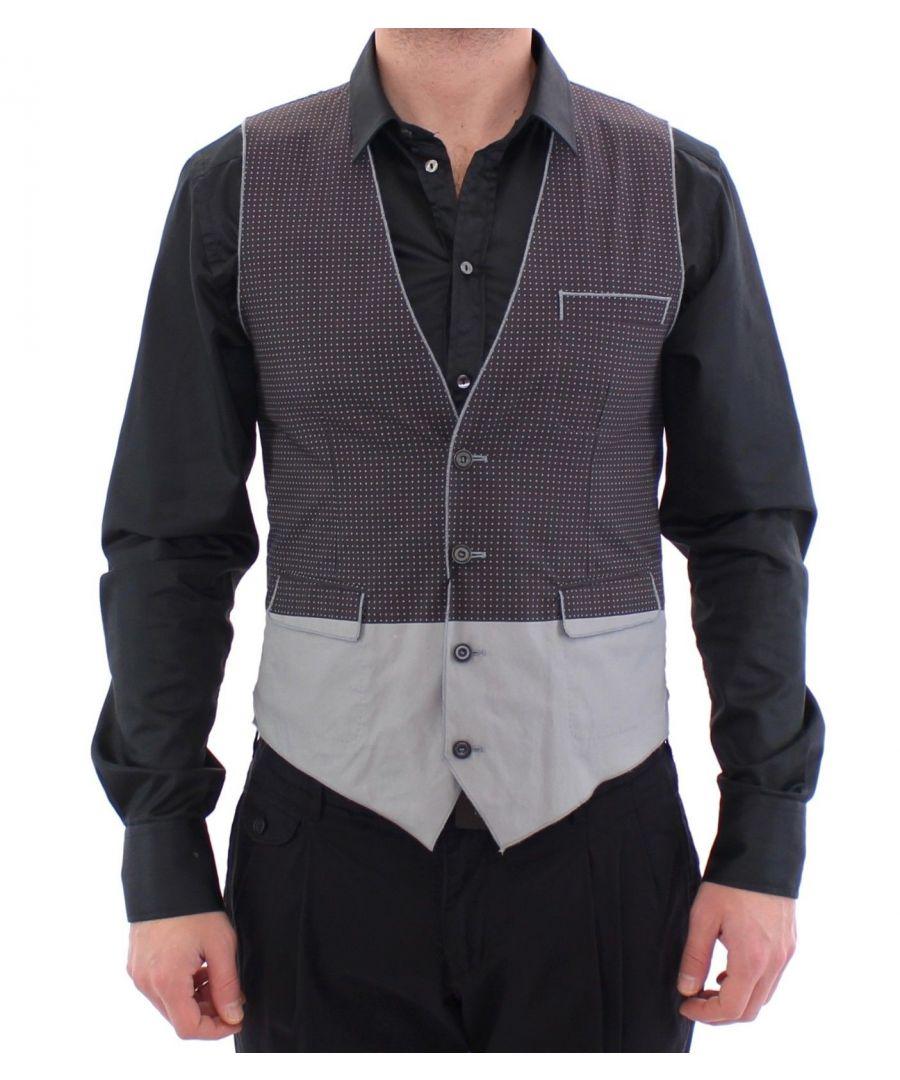 Image for Dolce & Gabbana Gray Polka Dot Dress Vest Gilet Weste