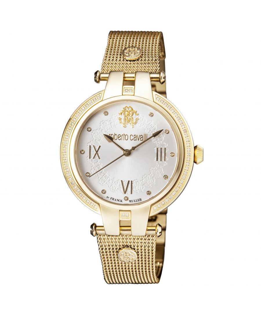 Image for Roberto Cavalli Womens Diamond Silver Sunray Dial Gold Plated Watch