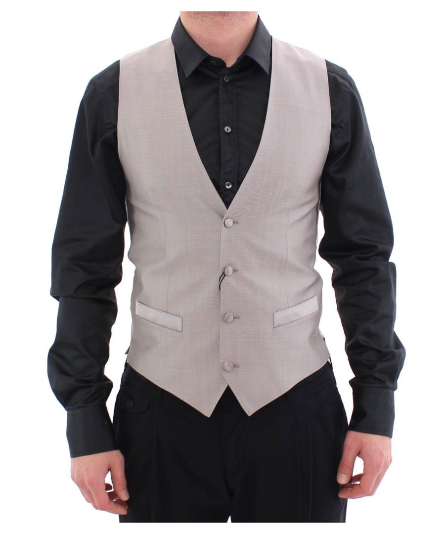 Image for Dolce & Gabbana Gray Silver Wool Silk Dress Vest Gilet