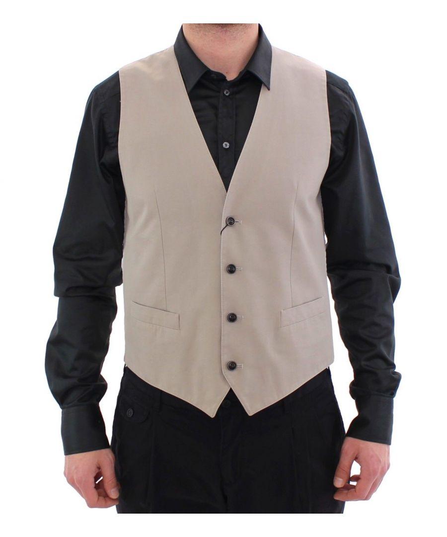 Image for Dolce & Gabbana Beige Silk Blend Dress Formal Vest Gilet