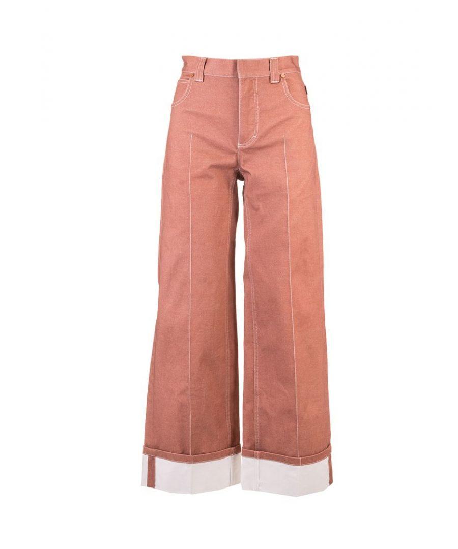 Image for CHLOÉ WOMEN'S CHC20UDP03155670 BROWN COTTON PANTS