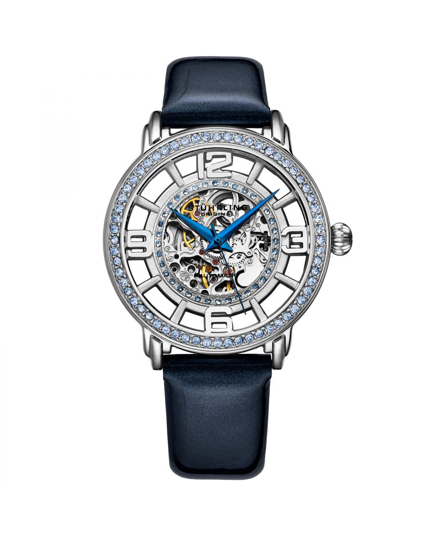 Image for Silver and Navy Blue Winchester Automatic 38mm Skeleton