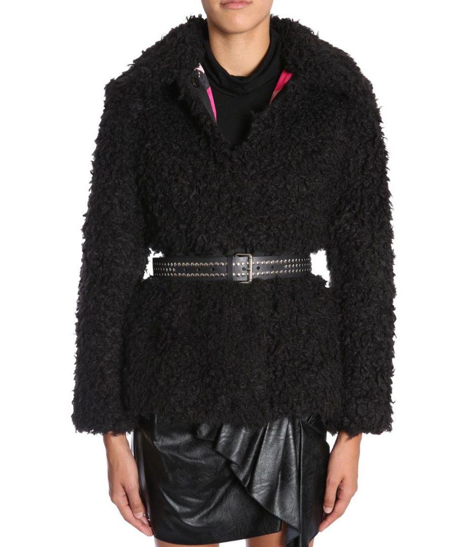 Image for AINEA WOMEN'S F8F280C1 BLACK ACRYLIC COAT