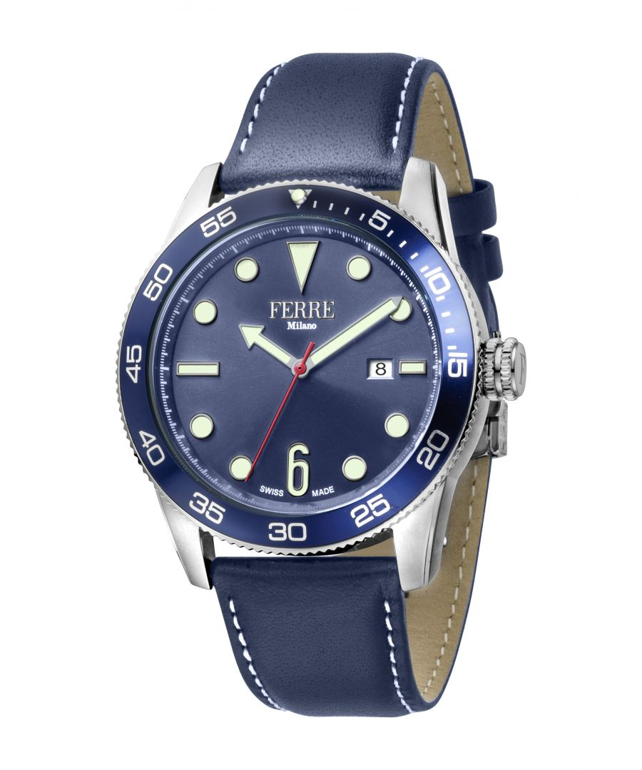 Image for Ferre Milano Gents D. Blue Dial D. Blue Leather Strap Watch