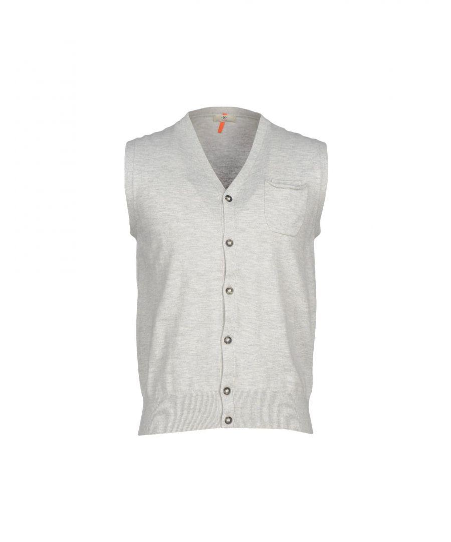 Image for Cerruti 1881 Light Grey Cotton Knit Sleeveless Cardigan