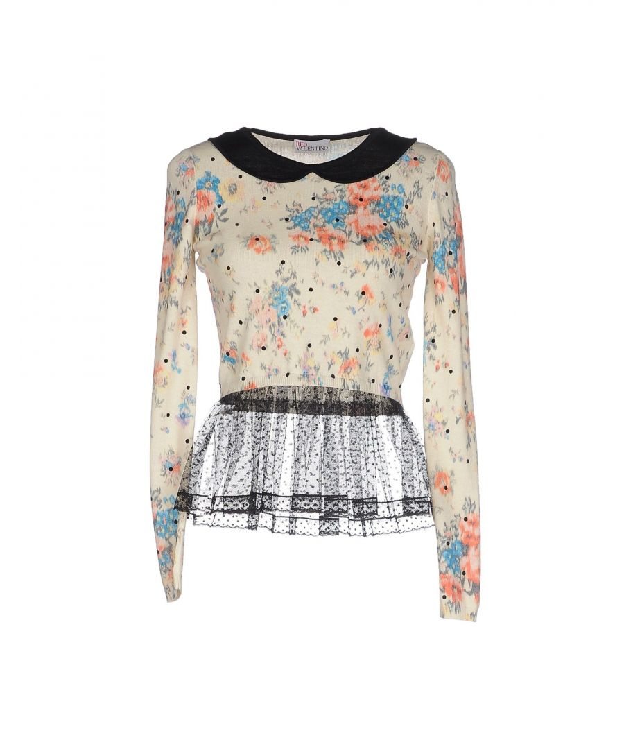 Image for Redvalentino Beige Floral Print Knit Jumper With Tulle