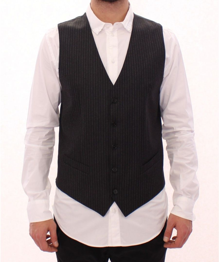 Image for Dolce & Gabbana Gray Striped Wool Single Breasted Vest