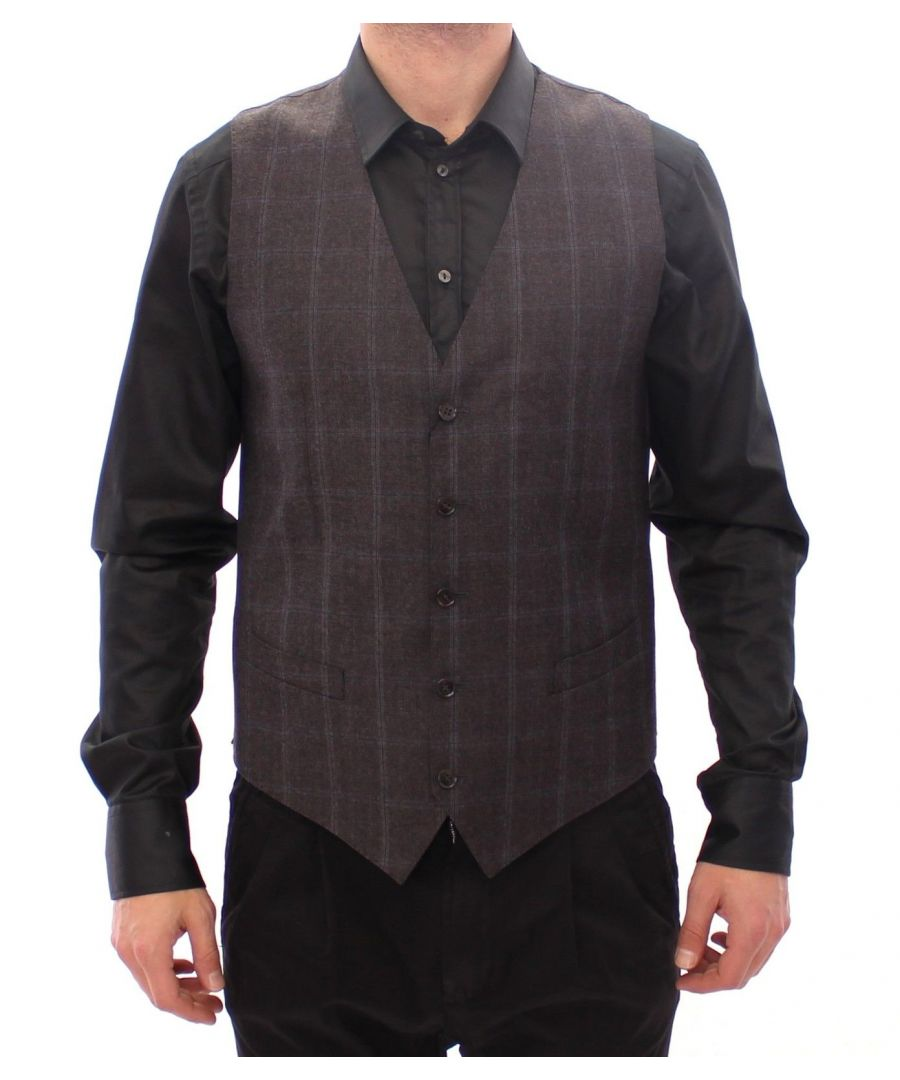 Image for Dolce & Gabbana Brown Check Wool Single Breasted Vest