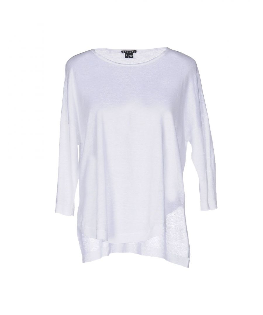 Image for Theory White Linen Three Quarter Length Sleeve Knit Jumper