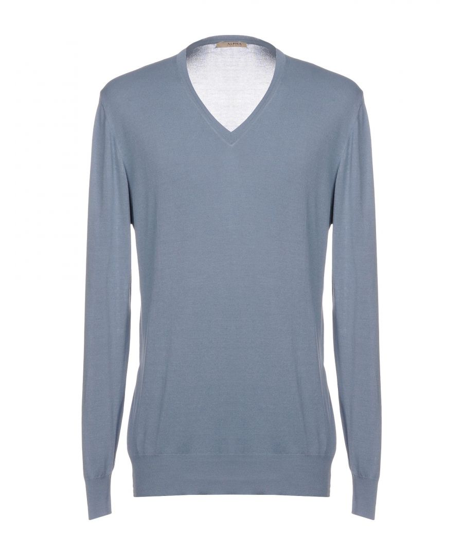 Image for Alpha Studio Pastel Blue Silk Knit V Neck Jumper
