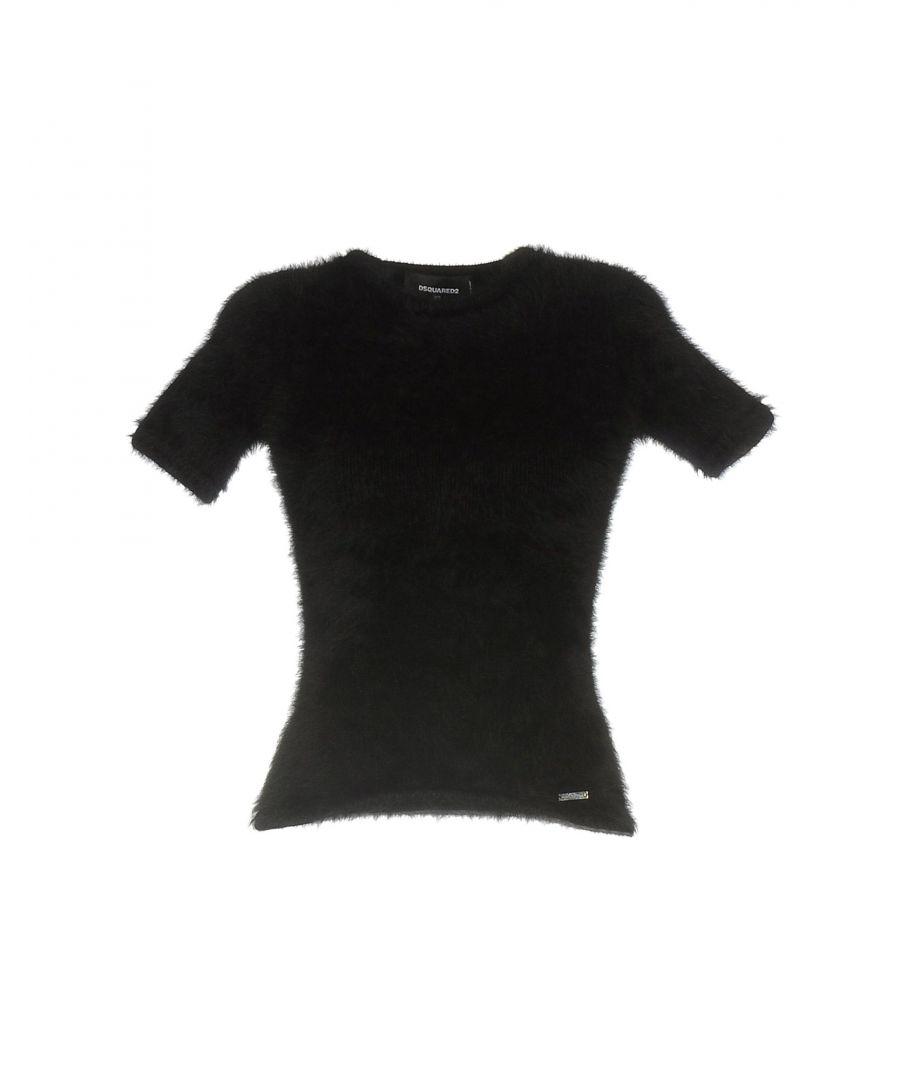 Image for Dsquared2 Black Angora Short Sleeve Knit