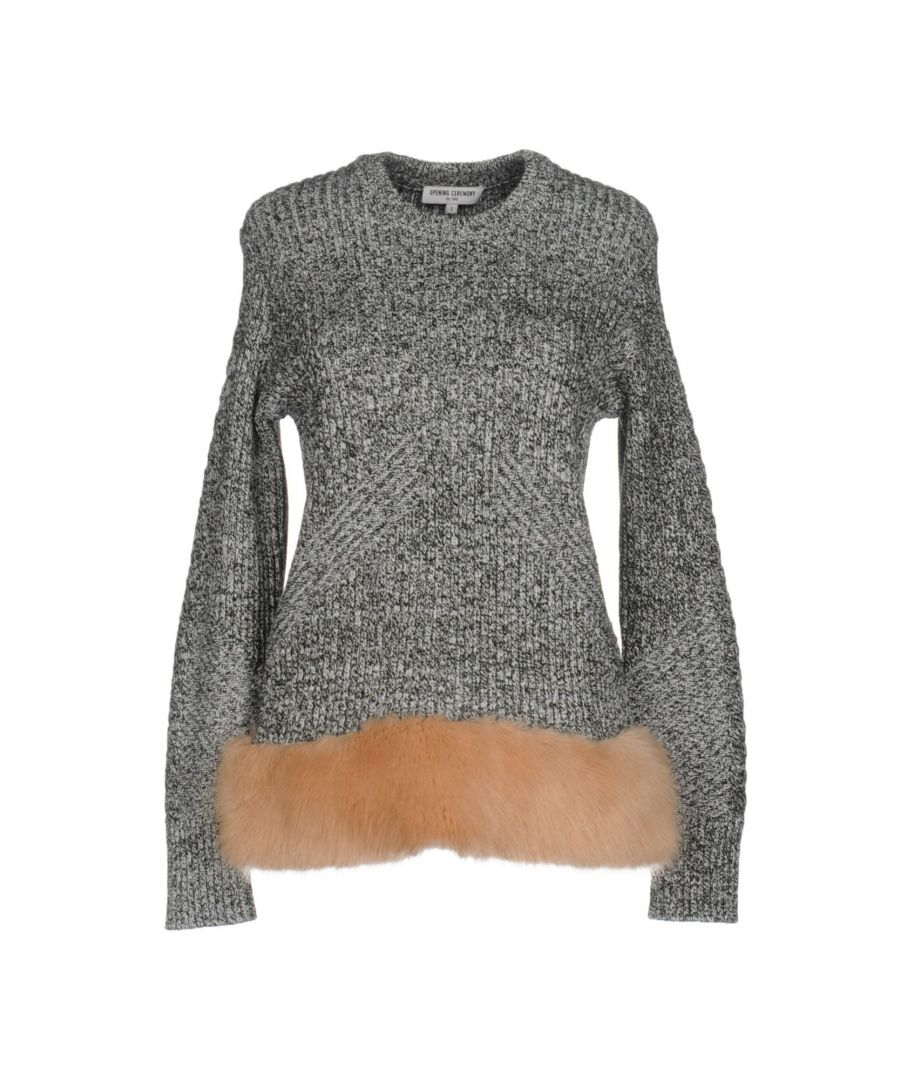 Image for Opening Ceremony Black Knit Jumper With Faux Fur Hem