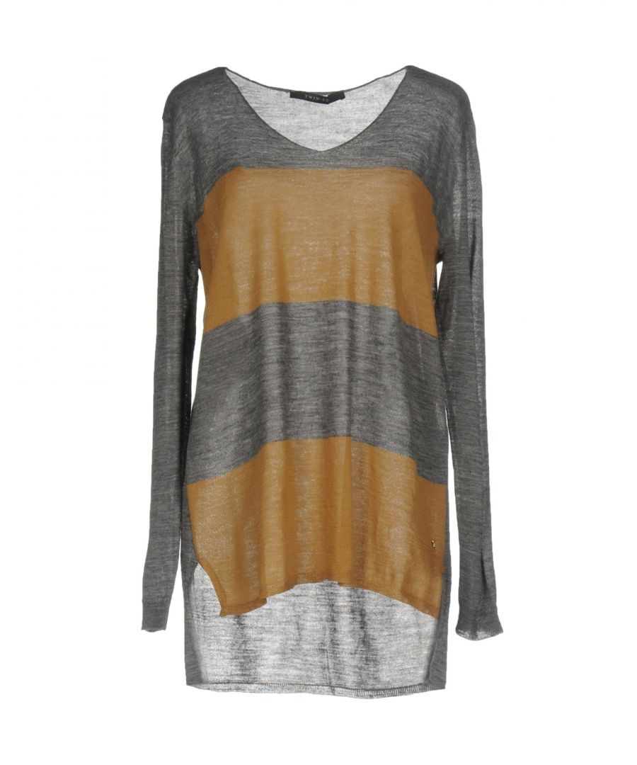 Image for Twinset Grey Stripe Lightweight Stripe Jumper