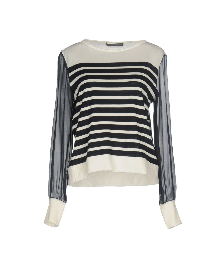 Image for Alberta Ferretti Dark Blue Stripe Cotton Jumper